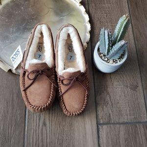 Ugg Sherpa Fur Suede Mocassin Loafer Flats 7